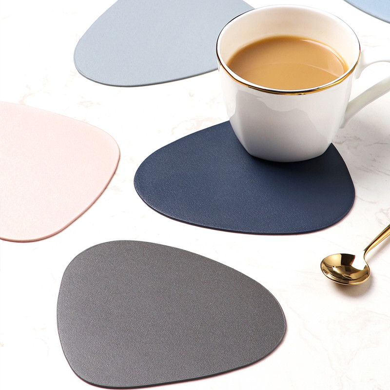 Leather Placemat Tableware Pad Oil Water Resistant Heat Insulation Non-Slip Tablemat Coaster Set for Kitchen Washable Cup Pads