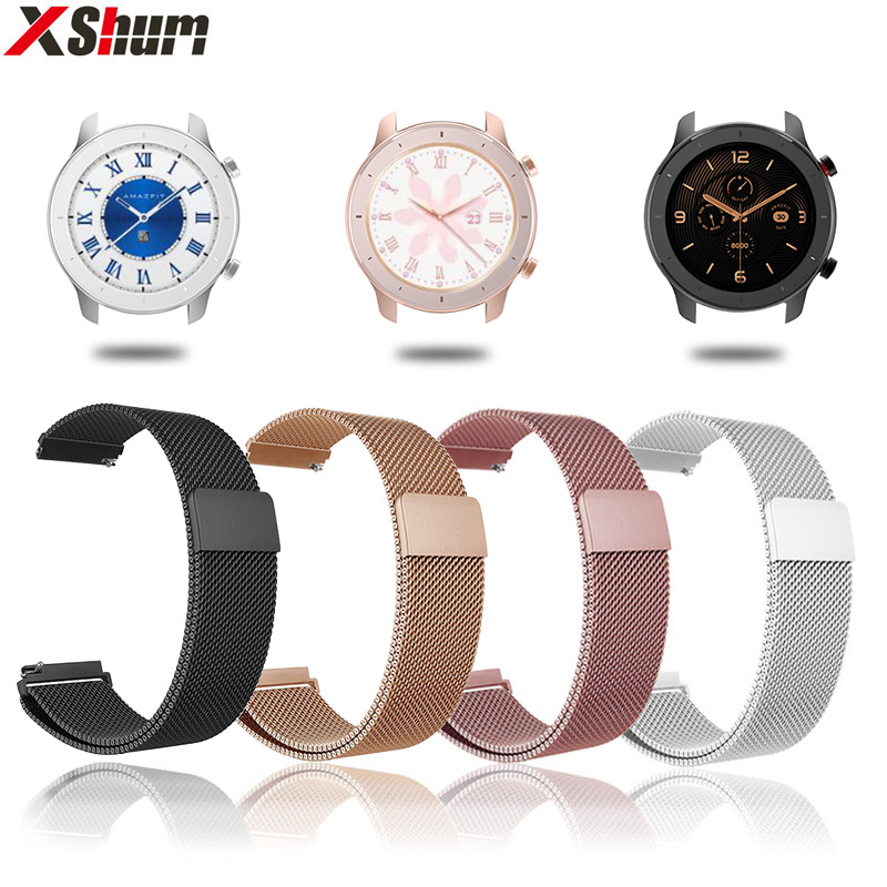 Strap For Amazfit GTR Strap Band For Xiaomi Amazfit GTR GTS Bracelet 42mm 47mm Metal Milanese Watchband Smart Watch Accessaries