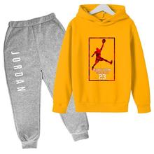 Hot Boys 4-14 Years Hooded Sweater Suit 23 Sportswear Pullover Girl Sweatshirt + Sweatpants Jogging Kid Sports Casual Hoodies