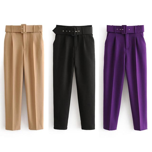 Office Lady Black Suit Pants with Belt Women High Waist Solid Long Trousers Fashion Pockets Pants Trousers Pantalones 3