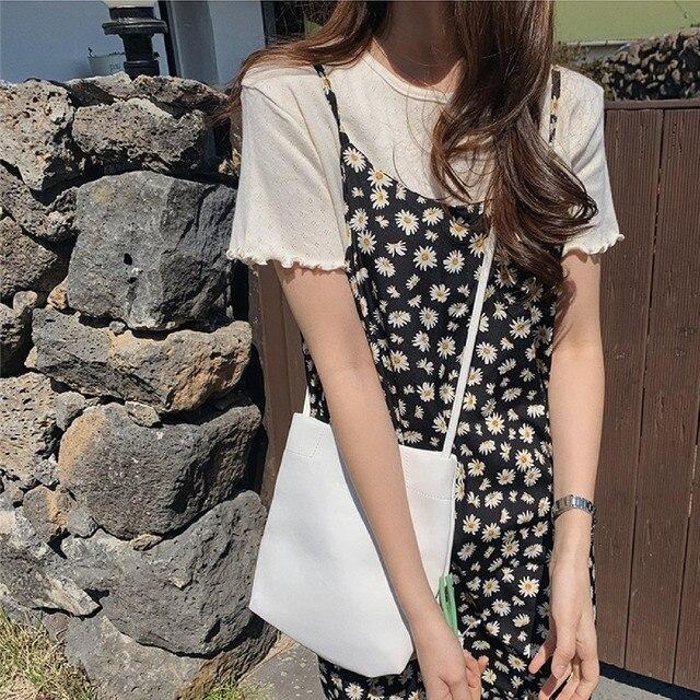 New S-Xl Spring  2 Piece Suit Sleeveless Vintage Women Dresses Female T shirt Blusas Girls Dress Suits V Neck Robe Femme Vestido 5