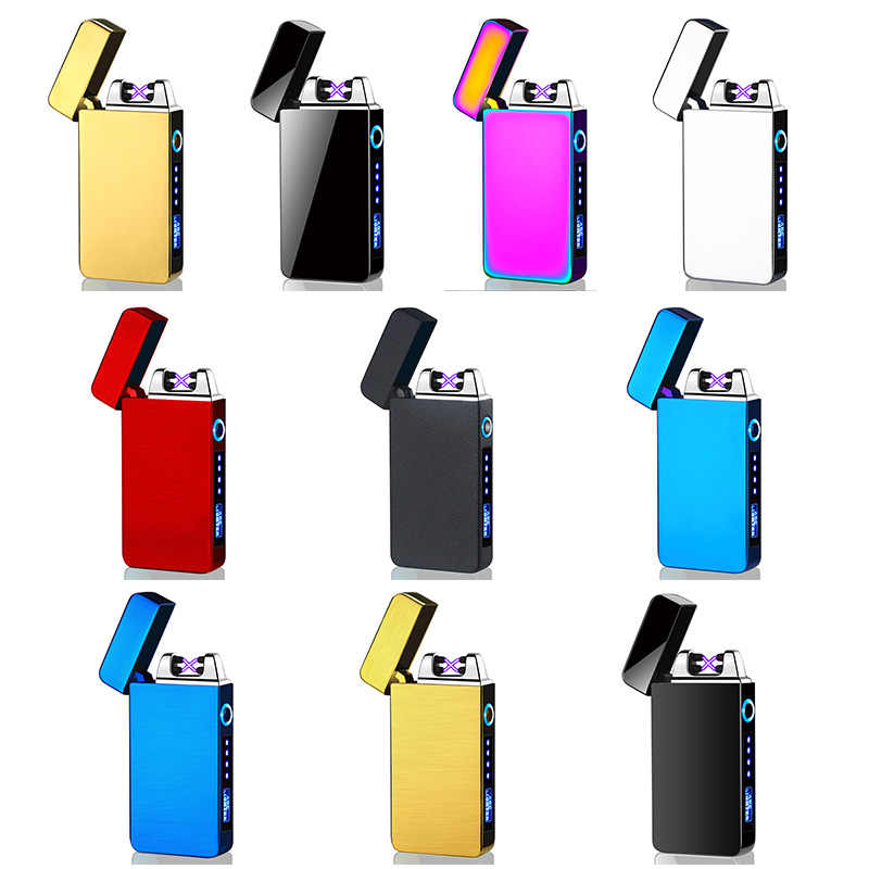 Dual Arc Windproof Lighter Flameless Elektronik Isi Ulang Listrik Ringan untuk Rokok Lilin dengan LED Power Tampilan