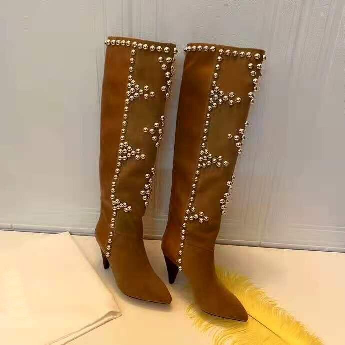 apontou toe calcanhar 10.5 cm botas de joelho marrom