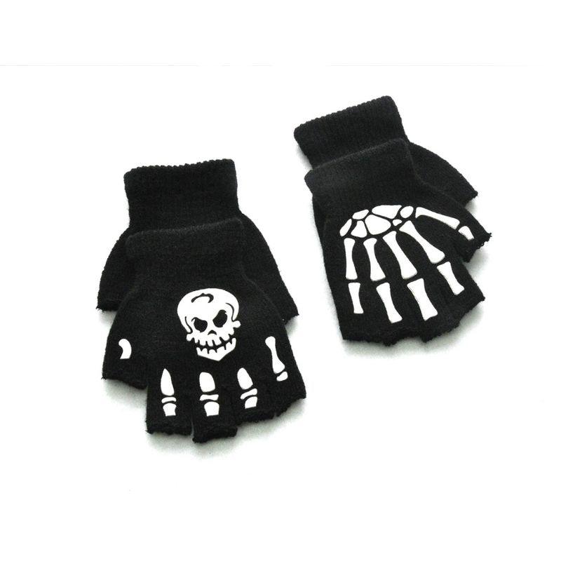 Kids Halloween Cosplay Skeleton Half Finger Gloves Luminous Fingerless Mittens-A GROOMY Gloves
