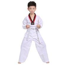 White Taekwondo Uniforms WTF Karate Judo Taekwondo Dobok Clothes Children Adult Unisex Long Sleeve TKD Clothing