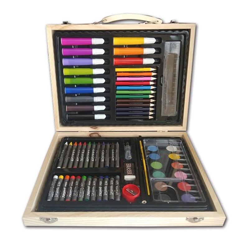 Children's Brush Set Wooden Box Kindergarten Painting Tools Gift Art Supplies J2HC