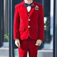 Excellent Velvet Kids Formal Wear Suit Children Attire Wedding Blazer Boy Birthday Party Business Suit (jacket+pants+vest)