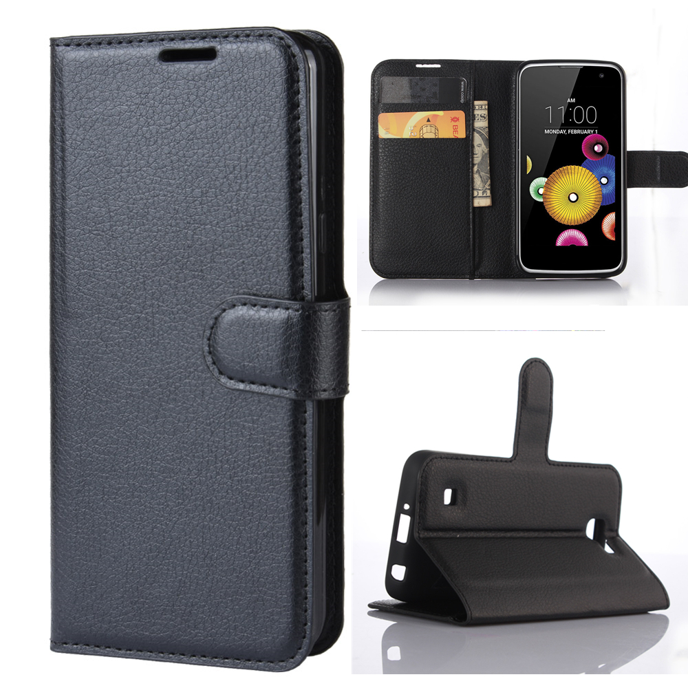 Wallet Cover Card Holder Phone Cases For LG K4 K120E K130E K121 Pu Leather Case Protective Shell