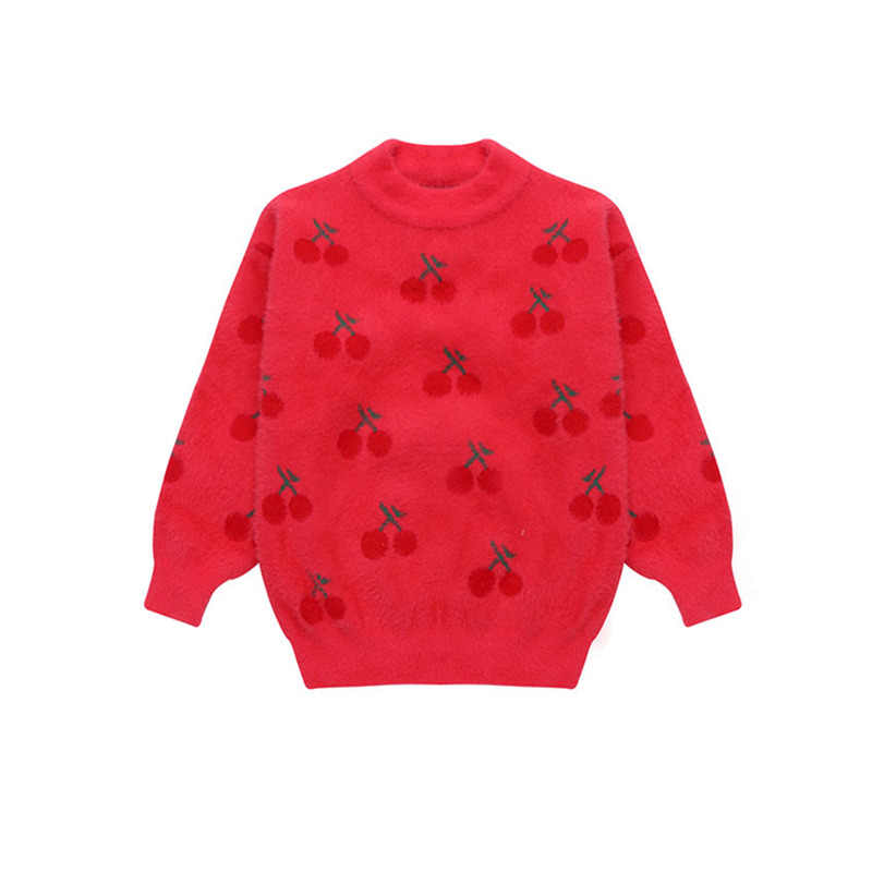 Fashion Remaja Sweater Merah Gadis Musim Dingin Wol Sweater Rajut Bayi Cherry Rajutan Atas Spanyol Anak-anak Pakaian Ukuran 13 11 9 7 5