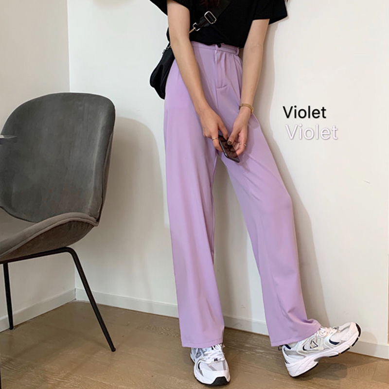 Spring Summer 2020 Women Violet Purple Pants Thin Suit Straight Pants High Waist Casual Wide Leg Pants Loose Lilac Trousers