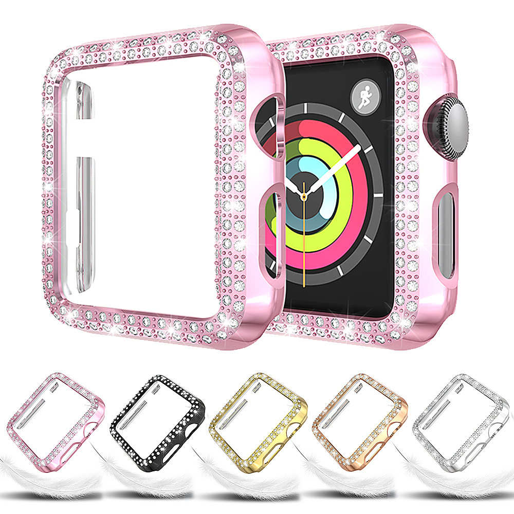 Diamond Case For Apple Watch Series 4 5 40mm 44mm IWatch Screen Protective Cover PC Watch Case For Apple Watch 3 Case 38mm 42mm