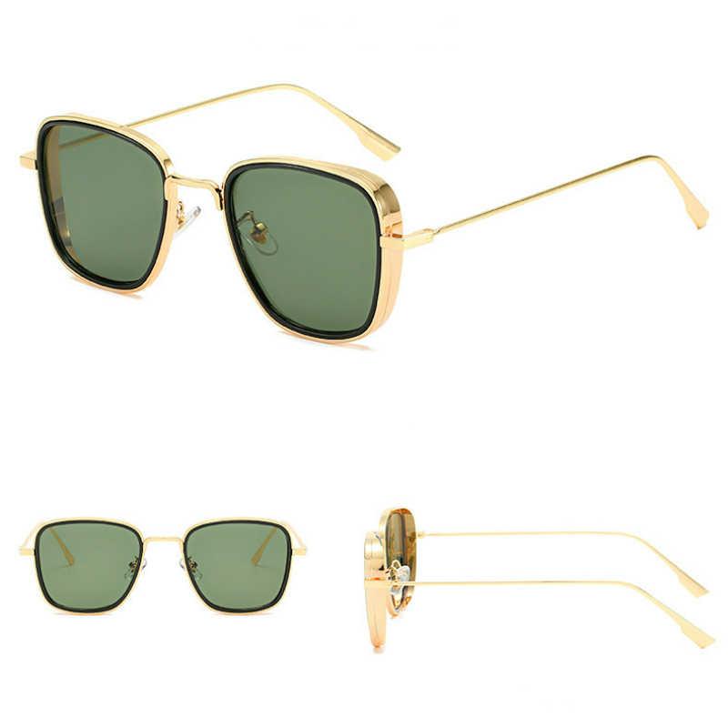Retro kare güneş gözlüğü erkekler Tony Stark güneş gözlüğü lüks marka tasarımcısı Steampunk güneş gözlüğü kırmızı siyah Sunglass kadınlar UV400