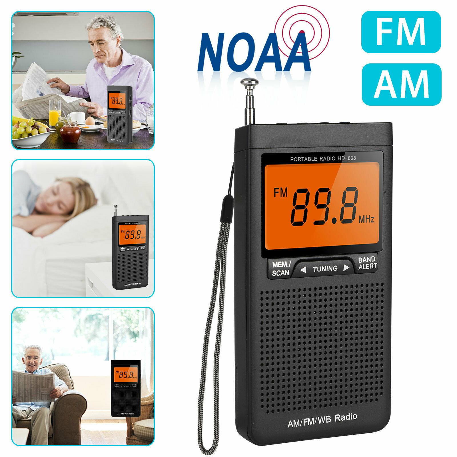 Mini AM FM Radio Portable Speaker With Headphone Jack Alarm Clock Emergency Weather Radio Station Pocket Radio Speaker Outdoor