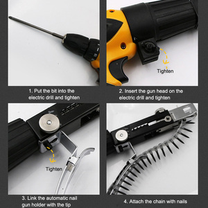 Image 5 - Automatic Screw Spike Chain Nail Gun Adapter Screw Gun for Electric Drill Woodworking Tool Auto Feed Screwdriver Tape