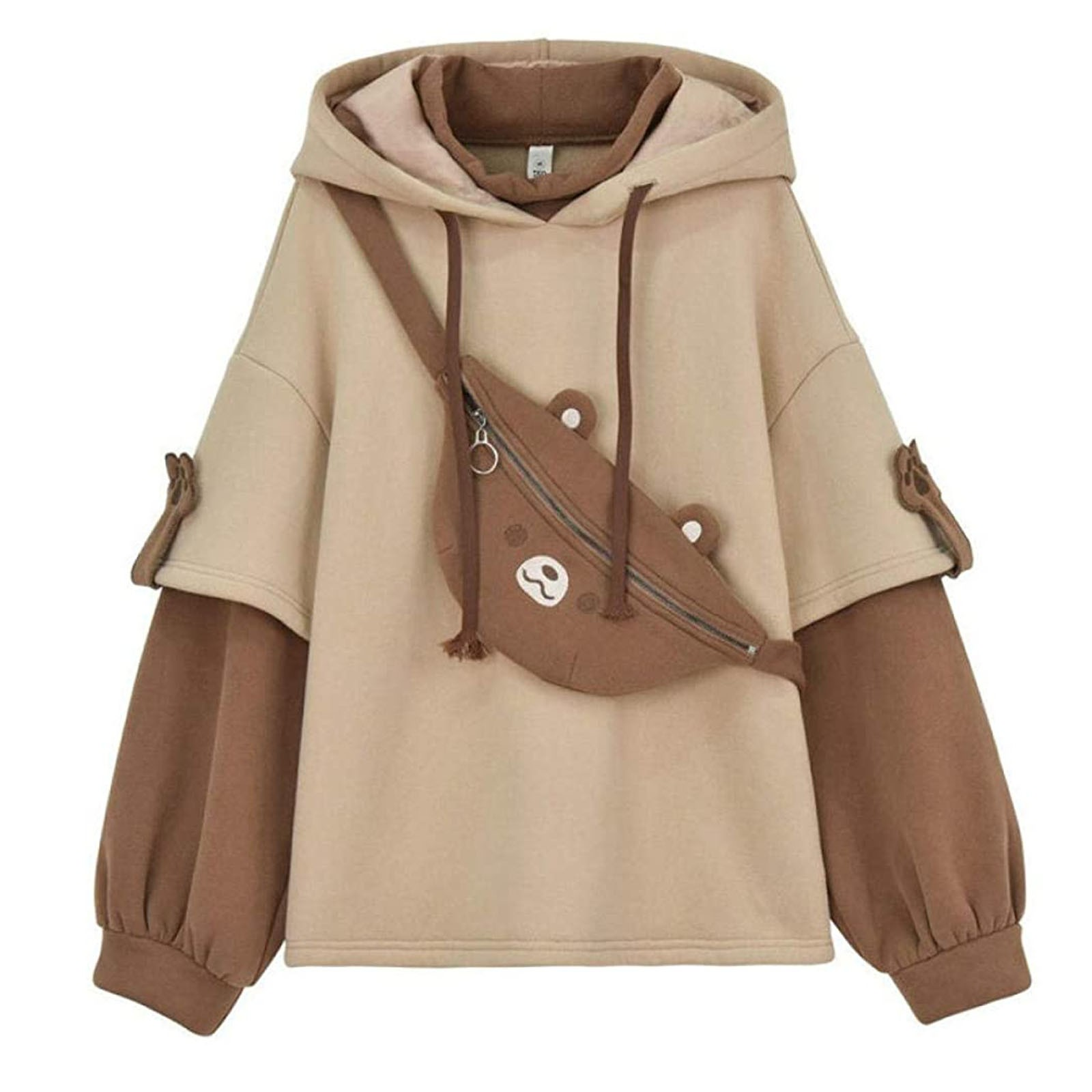 harajuku aesthetic bear anime hoodie women korean kawaii crewneck long sleeve oversized fall winter clothes kpop streetwear tops 11