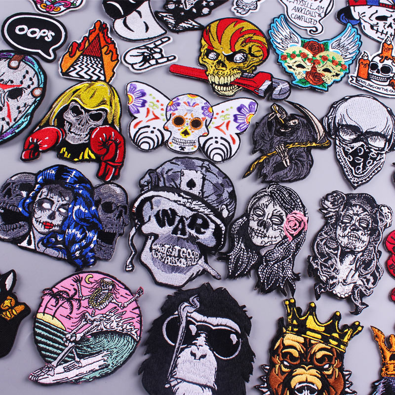 Skull Patch Zombie Bride Embroidered Patches For Clothing Iron On Patches Clothes Applique Stickers Punk Patch Sewing Supplies-0