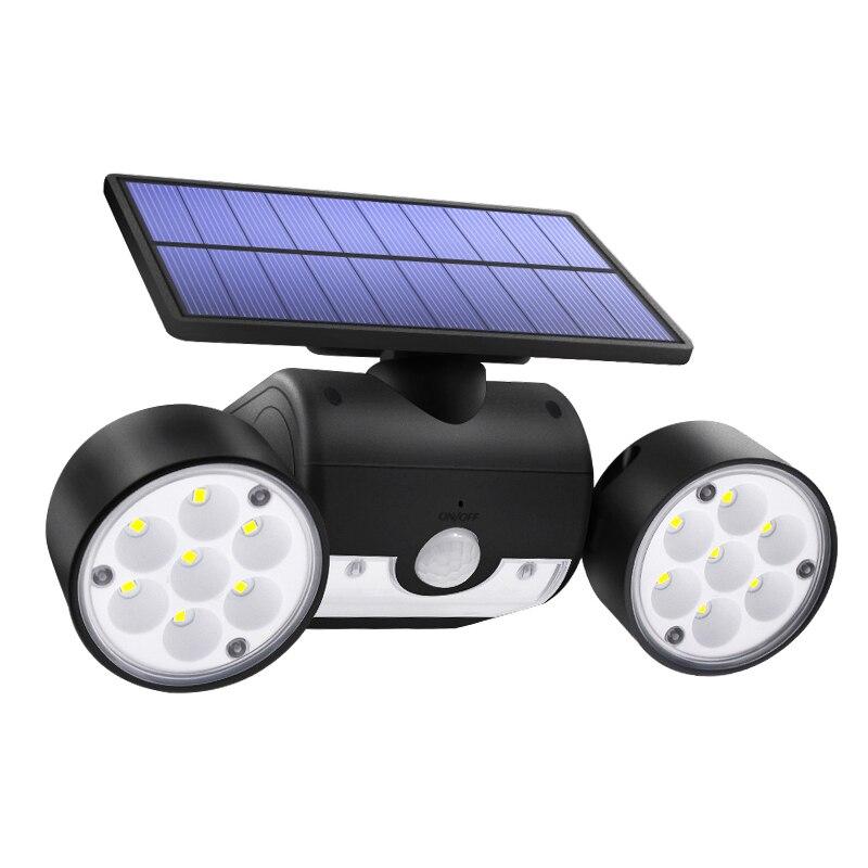 30 Led Solar Light Dual Head Solar Lamp Pir Motion Sensor Spotlight Waterproof Outdoor Adjustable Angle Lights For Garden Wall