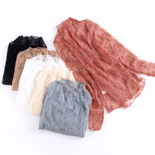 2019 Leisure Women Mesh Tops Sexy See Through Lace Flower Tshirts Long Sleeve Transparent Fishnet Top T-Shirt Womens Clothes