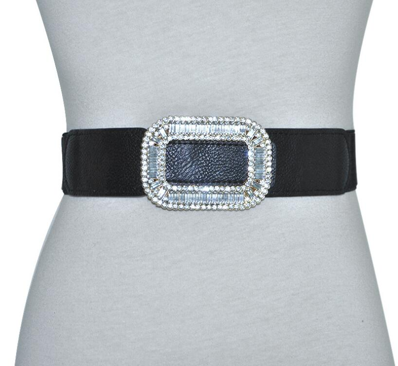 Women's Runway Fashion Diamonds Buckle Elastic Cummerbunds Female Dress Corsets Waistband Belts Decoration Wide Belt R2391