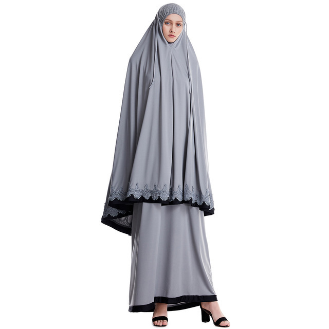 Prayer Garment For Women Muslim Clothing Hijab Dress Cover Two Piece Abaya Long Robe Islamic Dubai Arab Gown Praying Clothes