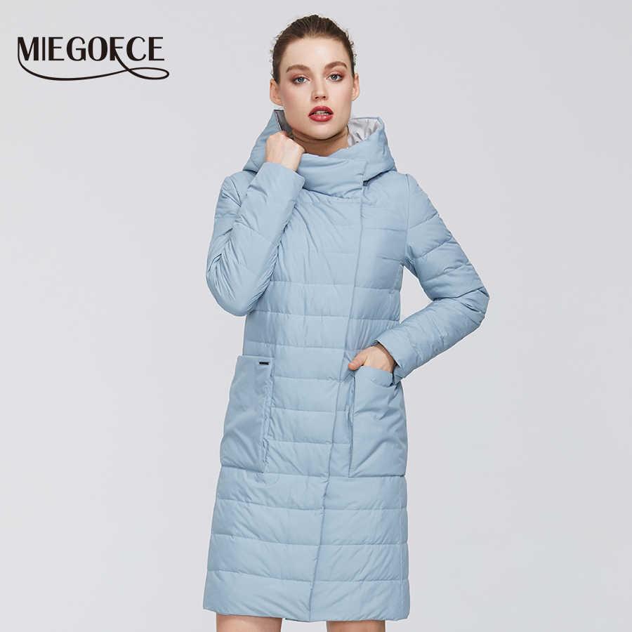 MIEGOFCE 2020 New springwomen의면 재킷 방풍 코트 여성 중간 길이 내성 버튼 칼라 후드 오버 헤드