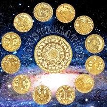 Wr 12 constelações zodiac banhado a ouro moedas colecionáveis originais conjunto titular desafio moeda presente criativo dropshipping2019