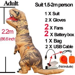 Image 3 - יורה העולם 2 Velociraptor תלבושות מתנפח T רקס דינוזאור תלבושות ליל כל הקדושים קוספליי למבוגרים פנטזיה Raptor קמע תלבושות