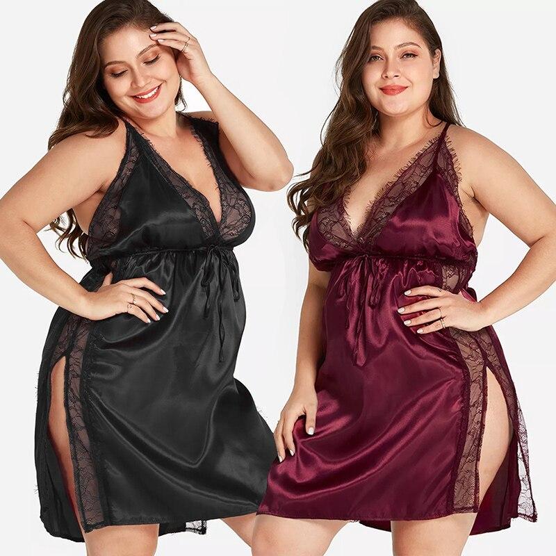 Женская ночная рубашка размера плюс, кружевное шелковое Сексуальное белье с открытой спиной и глубоким v-образным вырезом, ночное белье