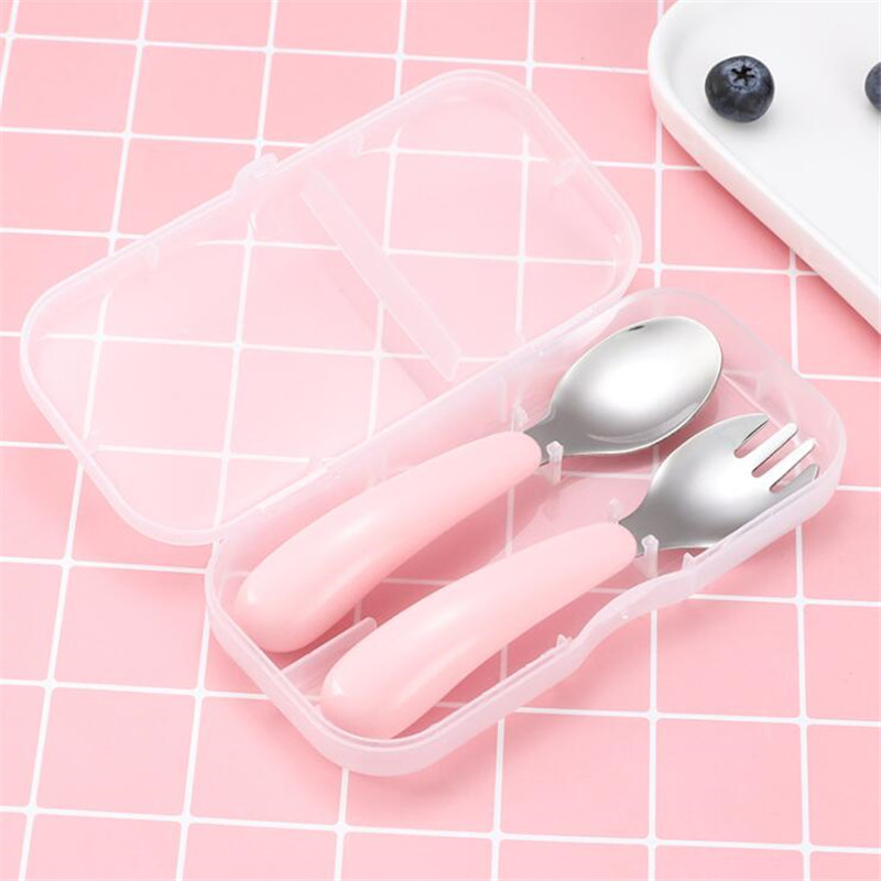 2 Pcs/Set Baby Tableware Set Children Feeding Utensil Stainless Steel Infant Spoon Kids Cutlery Food Feeding Gadgets Spoon Fork