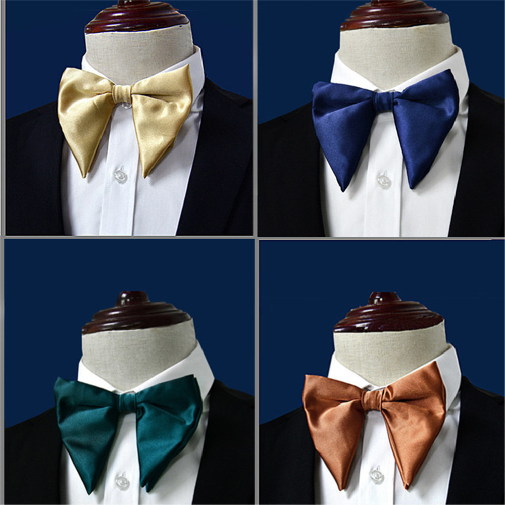 New Novelty Horned Gold Bow Ties For Men Groom Wedding Silk Bowtie Yellow Blue Green Red Black Man Big Bowties Accessories C025