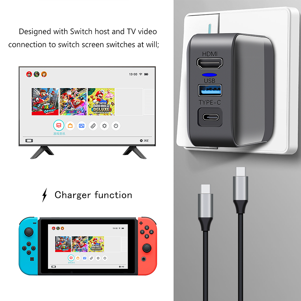 Portable Base Adapter Charger Mini  Switch  Dock For Nintend Switch Pad Game TV Converter USB Type C 2in1 Charging Dock Station