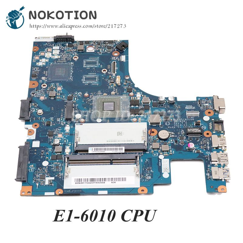 NOKOTION New ACLU5 ACLU6 NM-A281 Main Board For Lenovo Ideapad G40-45 Laptop Motherboard 14 Inch E1-6010 Cpu Onboard DDR3
