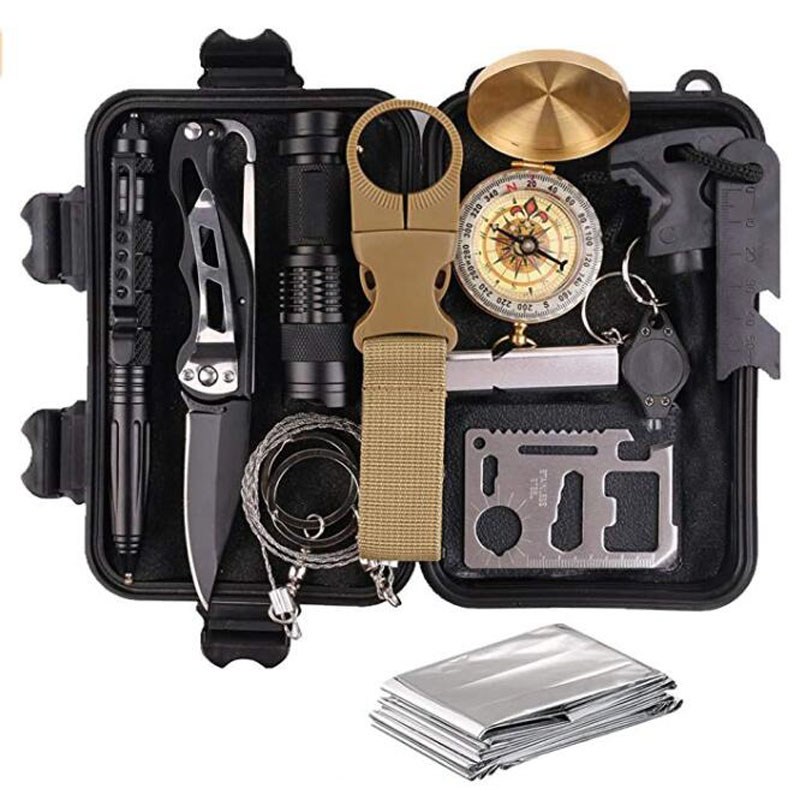 Survival Gear Kits 13 in 1 Outdoor Emergency SOS Survive Tool for Wilderness/Trip/Cars/Hiking/Camping gear-Wire Saw