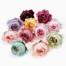 10 pçs seda peônia flor artificial 4cm estame cabeça de flor decoração de casamento itens grinalda diy artesanato rosa flores falsas