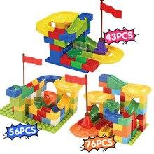 43-76Pcs Marble Race Run Maze Balls Track Building Blocks Funnel Slide Big Assemble DIY Bricks Compatible Duplo