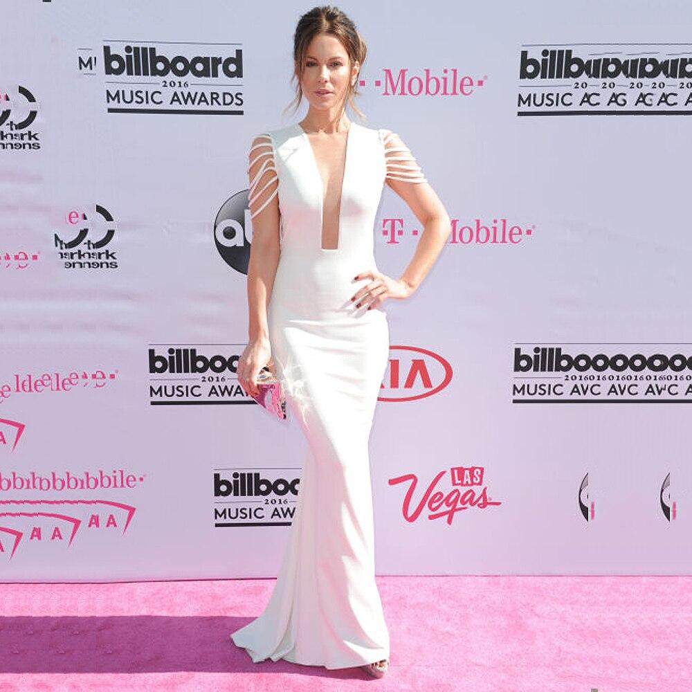Elegant White Satin Mermaid   Prom     Dresses   Long 2019 Celebrity   Dress   Sexy Deep V-Neck Cap Sleeves Sweep Train Red Carpet Gowns