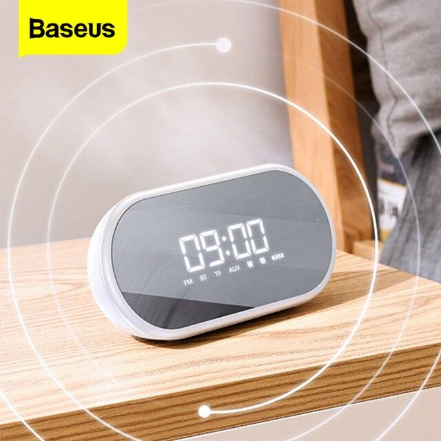 Baseus E09 مكبر صوت بخاصية البلوتوث قابل للنقل مع ساعة تنبيه لاسلكي مكبر صوت موسيقي محيطي مكبر صوت بصوت عال للهاتف جهاز كمبيوتر شخصي