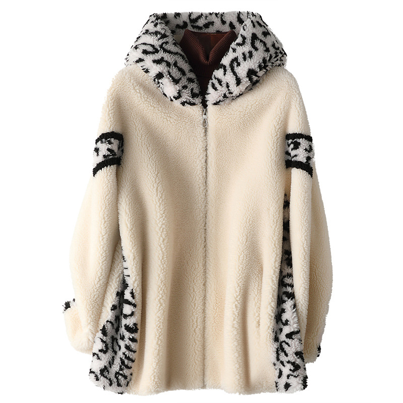 Autumn Winter Wool Fur Coat Women's Leopard Hooded Composite Fur One-piece Coat Beige Pockets Casual Thivk Warm Fashion Jackets