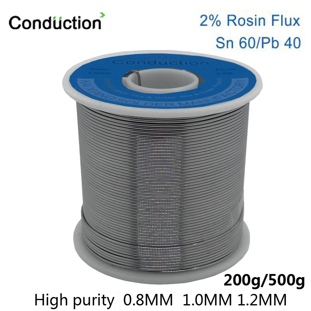 High Quality Rosin Core Solder Wire 0.8/1.0/1.2mm FLUX 2.0% 45FT Tin Lead Tin Wire Melt Rosin Core Solder Welding Line Roll 500g