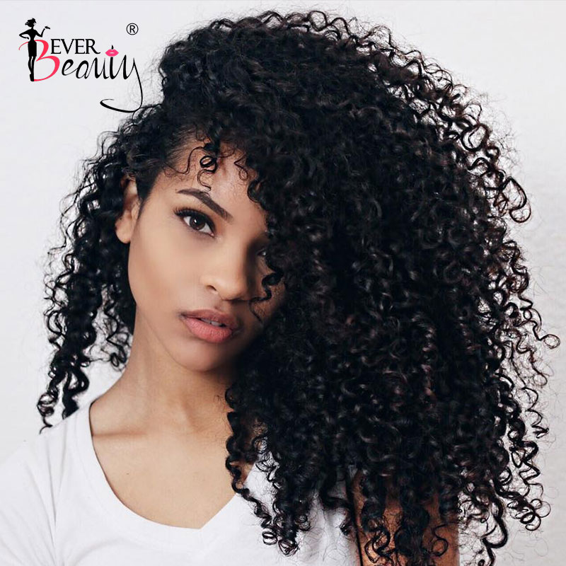 3B 3C Kinky Curly Clip In Human Hair Extensions For Women Mongolian Hair Extensions Clip Ins Natural Black Remy Ever Beauty