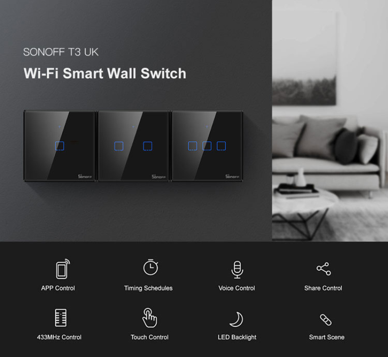 SONOFF T3 EU/US TX 1/2/3G 433 RF Smart Home WiFi Switch Support EWelink APP Automation Compatible With Google Home Alexa Amazon