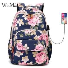 2019 Flower Printing Women Backpack Waterproof USB Charging School Bags For Girls Laptop Travel Bagpack College Knapsack Mochila цена 2017