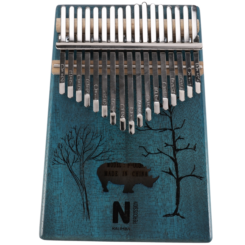 17 Keys Kalimba Rhinoceros Thumb Piano Mahogany Wood Finger Piano Musical Instrument With Tuner Hammer Storage Box