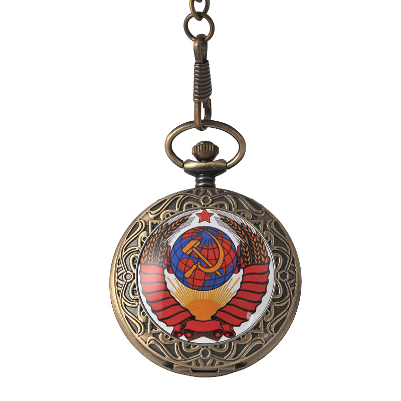 9077Large Hammer Sickle Icon Quartz Pocket Watch Silver Red Relief Earth Star Wheat Pocket Watch With Waist Chain