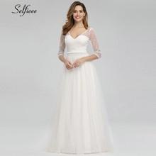 Vintage White Lace Women Dresses A-Line V-Neck 3/4 Sleeve Elegant Maxi Summer Sexy Female Party Jurken Zomer