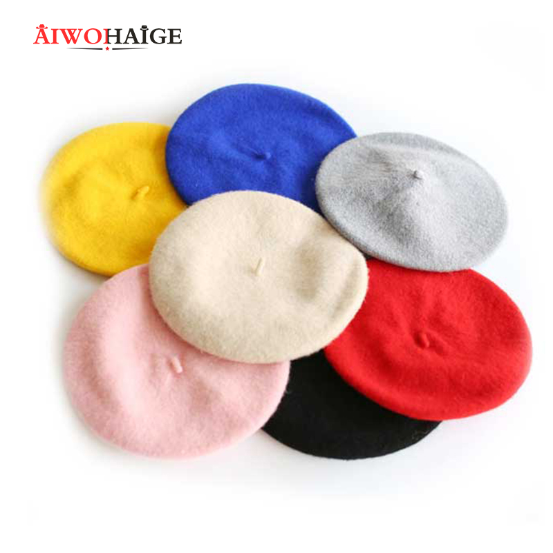 2019 Fashion New Women Wool Solid Color Beret Female Bonnet Caps Winter All Matched Warm Walking Hat Cap Cheap Hot Sell