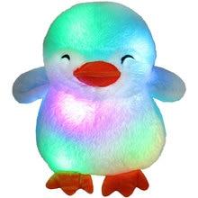 LED Musical Stuffed Penguin Toy Light up Plush Animal Pillow with Night Lights Stuffed Plush Doll Cushion Light Toys for Kids