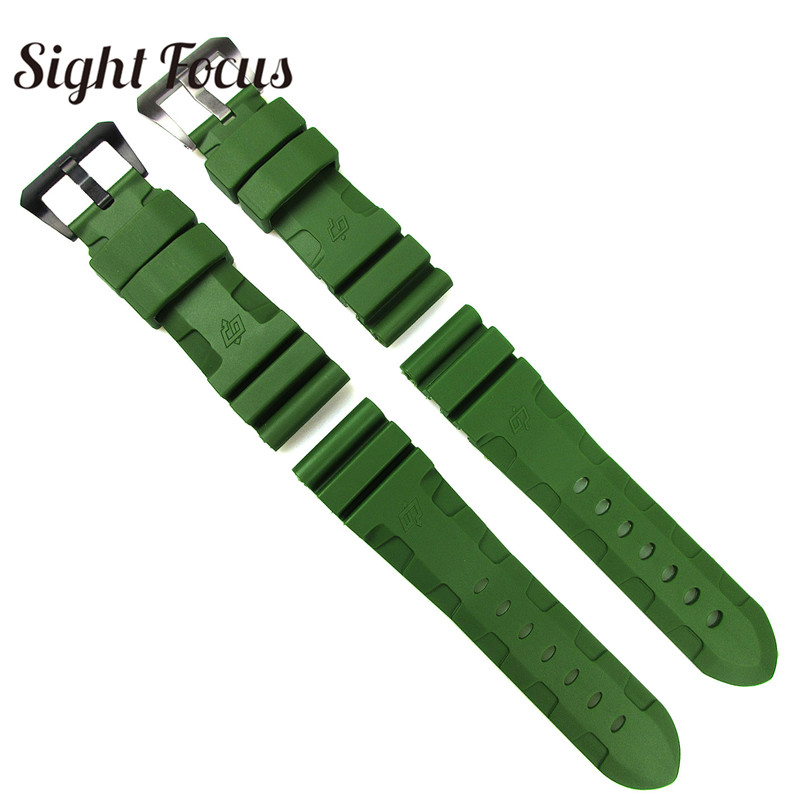 Image 2 - 24mm 26mm Army Green Lighting Watch Band Replacement for Panerai Submersible Radiomir Sport Rubber Strap Bracelets Military Belt-in Watchbands from Watches