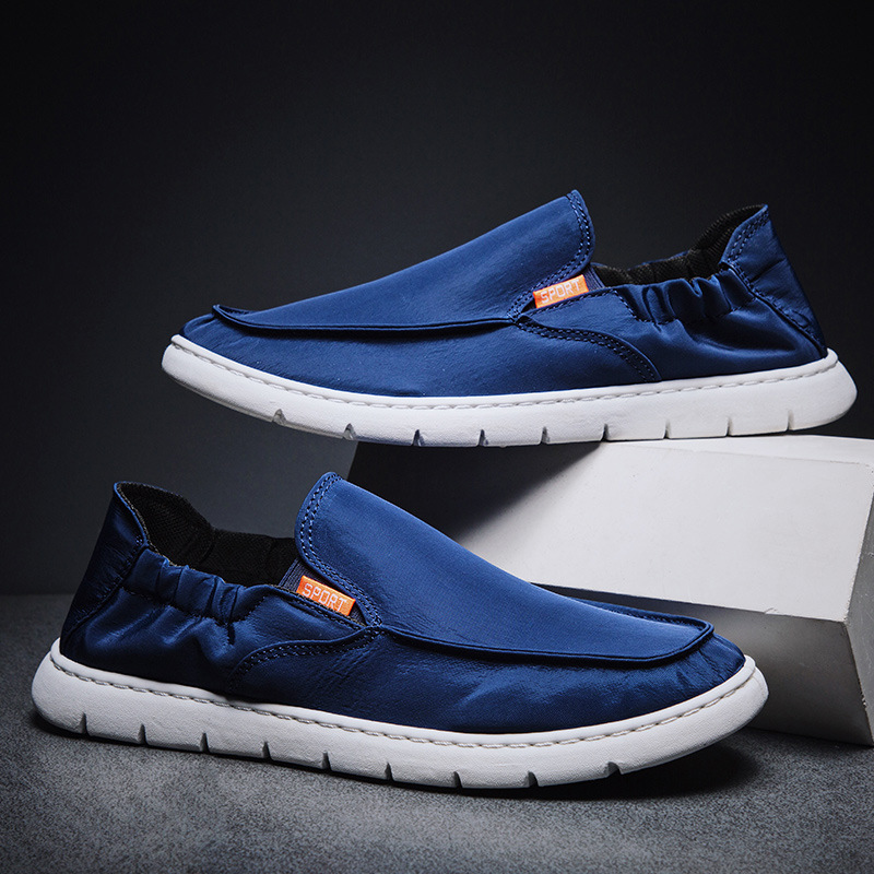 2020 Spring Summer Ins Fashion Shoes Men Loafers Canvas Shoes Men Casual Shoes Flat Slip On Male Footwear Black Blue A2143