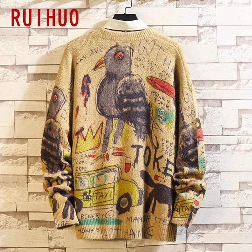 Ruihuo 2020 뉴 스프링 수퍼맨 프린트 캐주얼 스웨터 남성 슬림 피트 니트 남성 스웨터 패션 따뜻한 풀오버 남성 브랜드 M-5XL